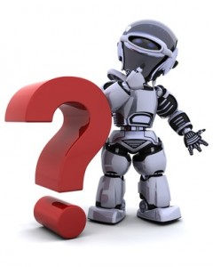 Qsource Robot with question mark